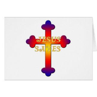 Jesus Saves Cross Card