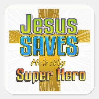 Jesus Saves - He's My Super Hero Square Stickers