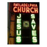 Jesus Saves Vintage Neon Sign Post Card Postcard