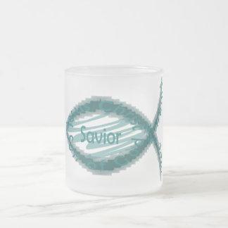 Jesus Savior Christian Fish Symbol Frosted Glass Mug