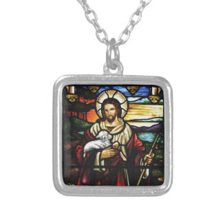 Jesus Shepherd with His Sheep Silver Plated Necklace