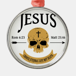 Jesus Skull Eternal Life Christian Silver-Colored Round Ornament