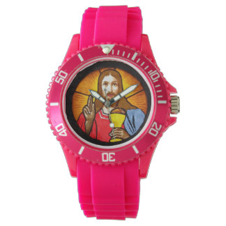 Jesus Sporty Pink Silicon Watch