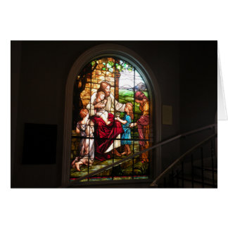 Jesus Stained Glass Window Greeting Card