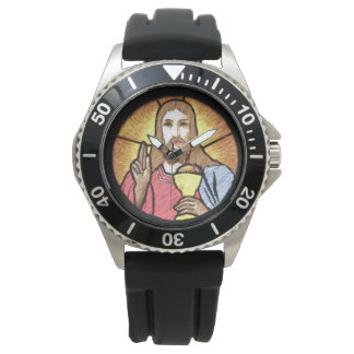 Jesus Stainless Steel Black Rubber Wrist Watches
