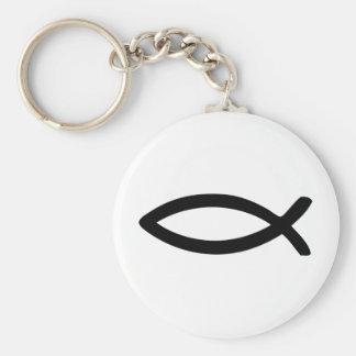 jesus symbol fish basic round button keychain