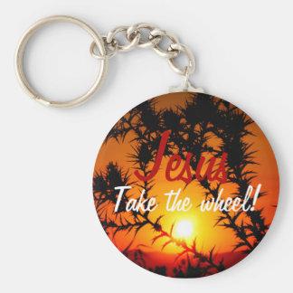 Jesus Take the Wheel Basic Round Button Keychain