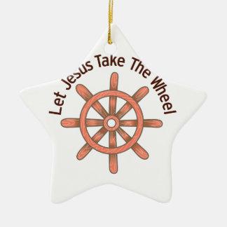 Jesus Take The Wheel Ceramic Ornament