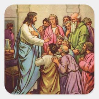 Jesus Teaches a New Commandment Square Sticker