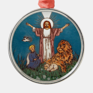 Jesus the Lion and the Lamb Metal Ornament