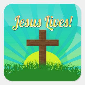 Jésus vit bleu/croix chrétienne de Brown Pâques Sticker Carré