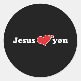 Jésus vous aime coeur autocollant rond
