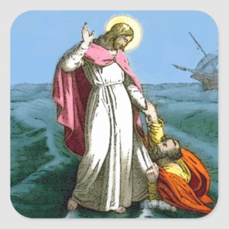 Jesus Walking on Water Square Sticker