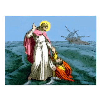 Jesus Walks on Water Postcard