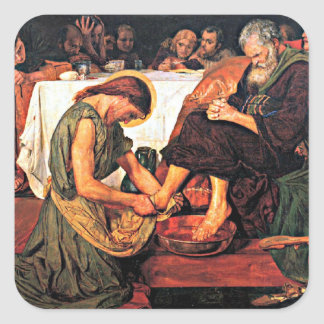 Jesus Washing Peter's Feet Square Sticker