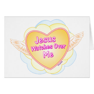 Jesus watches over me Christian gift design Cards