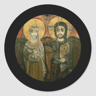 Jesus with Abbot Coptic Icon Round Sticker