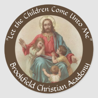 Jesus with Children Christian Homeschool Classic Round Sticker