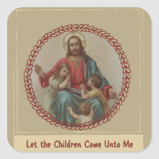 Jesus with Children Christian Homeschool Square Sticker