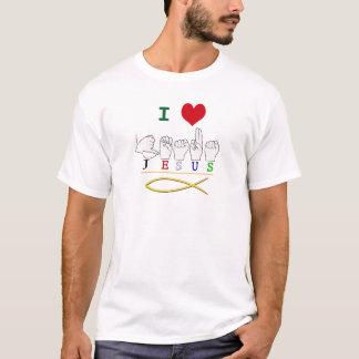 JESUS with CHRISTIAN FISH SYMBOL FINGERSPELLED ASL T-Shirt