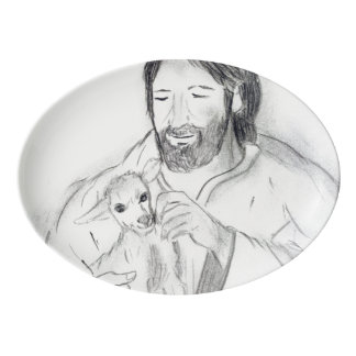 Jesus With Lamb Porcelain Serving Platter