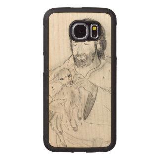 Jesus With Lamb Wood Phone Case