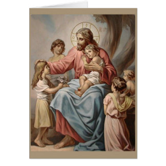 Jesus with the Children Boys Girls Card