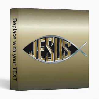 Jesus within a Fish Symbol 3 Ring Binder