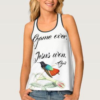 Jesus Won Hummingbird Bird Flowers Tank Top