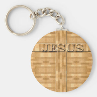 Jesus Wood Carving Keychain