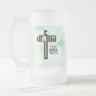 Jesus Word Art Frosted Glass Beer Mug