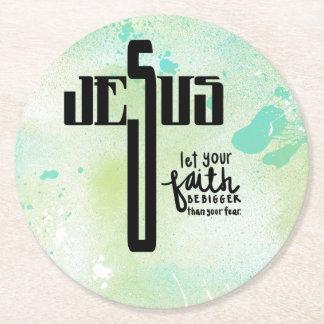Jesus Word Art Round Paper Coaster