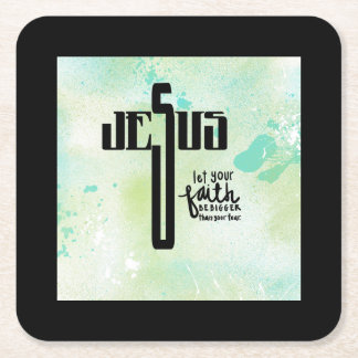 Jesus Word Art Square Paper Coaster