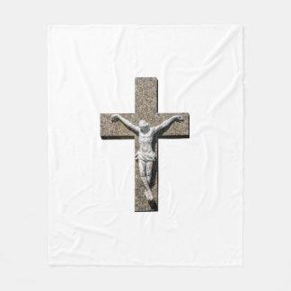 Jesuschrist on a Cross Sculpture Fleece Blanket