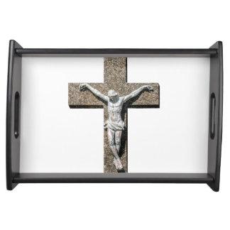 Jesuschrist on a Cross Sculpture Serving Tray