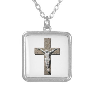 Jesuschrist on a Cross Sculpture Silver Plated Necklace