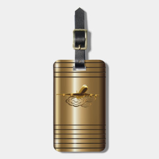Jet Airliner Aircraft Golden Luxury Luggage Tag