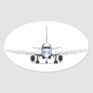 Jet Airplane Oval Sticker