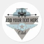 Jet Airplane Wing Club Round Stickers
