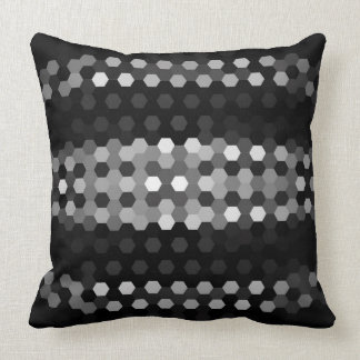 Jet and Gray Hexagons Pattern Throw Pillow