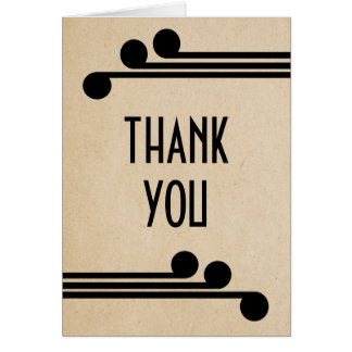 Jet Black Deco Chic Thank You Card