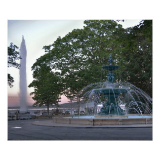 Jet D'Eau et Jardin Anglais Impression Photo