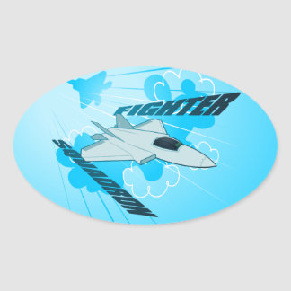 Jet fighter oval sticker
