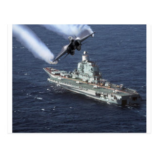 Jet Fighter Over Navy Ship Postcard