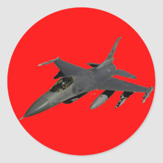 JET FIGHTER ROUND STICKER