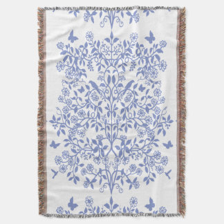 Jet floral anglais blanc bleu de jardin
