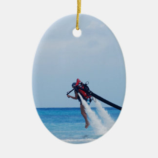Jet Pack Blasting Off Ceramic Ornament