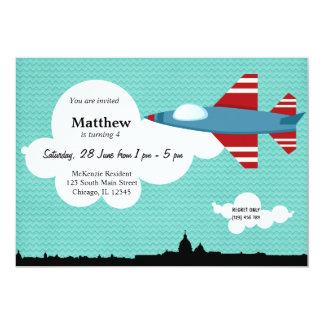 "Jet Plane Birthday theme (Blue) 5"" X 7"" Invitation Card"