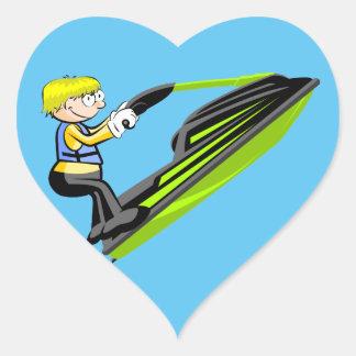Jet ski fan heart sticker