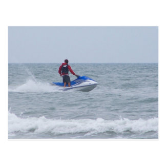 jet skiing at the beach postcard